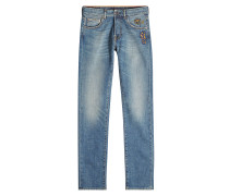 Straight Leg Jeans mit Stickerei