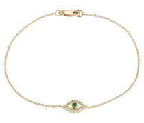 Armband aus 18kt Gelbgold mit weißen Diamanten/Tsavorit