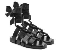Leder-Sandalen mit Riemen und Schleife