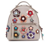Leder-Rucksack mit Blütenapplikationen