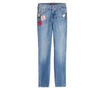 Cropped Straight Leg Jeans mit Stickereien