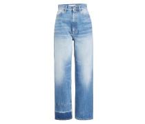High Waist Jeans mit farblich abgesetztem Saum