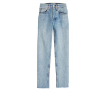 Cropped Jeans Stovepipe 27 mit gefransten Säumen