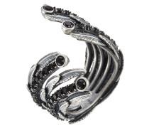 Offener Ring Dark Plumes mit Kristallen