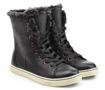 High-Top-Sneakers aus Leder mit Lammfell
