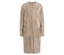 Mantel aus Leder und Lammfell