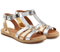 Ledersandalen mit Metallic-Finish