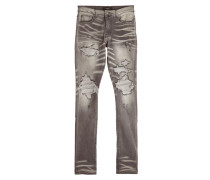 Skinny Jeans im Distressed Look mit Kaschmir-Patches