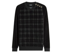Baumwoll-Sweatshirt mit verzierten Knöpfen