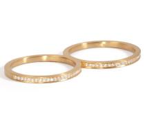 Double-Ring Rue de Diamant aus 18kt Gold mit weißen Diamante