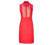 Coral Sleeveless Linen Inset Dress