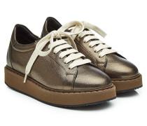 Leder-Sneakers mit Metallic-Finish