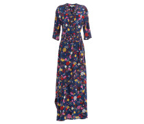 Bodenlanges Wrap-Dress aus Seide mit Print