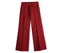 Cropped Wide Leg Pants aus Baumwolle und Leinen