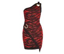 Gemustertes One-Shoulder-Kleid mit Zierösen