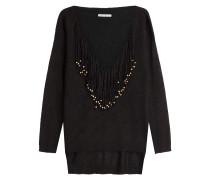 Oversize-Pullover mit Alpaka und Fransen