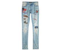 Skinny Jeans im Distressed Look mit Patches