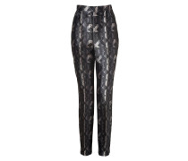 Black-Multi Printed Silk Grace Pants