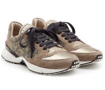 Bestickte Sneakers aus Leder und Veloursleder