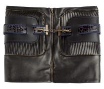 Lederminirock mit Zipper und Gürtel