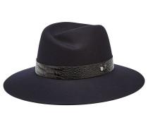 Fedora-Hut aus Wolle mit Leder