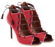 Open-Toe-Stilettos aus Veloursleder mit Schnürung