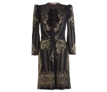 Gerüschtes Kleid mit goldenem Metallic-Print