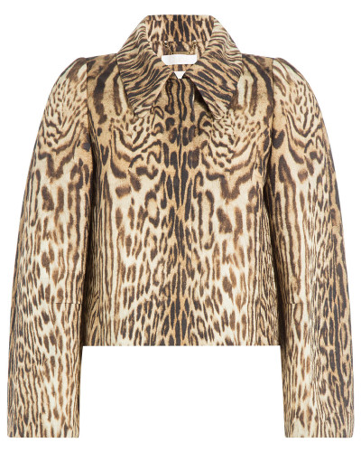 Cropped-Jacke mit Animal-Print