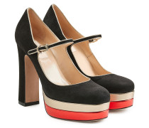 Pumps Mary Jane aus Veloursleder