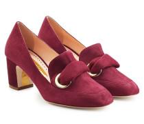 Kitten Heel Loafers aus Veloursleder