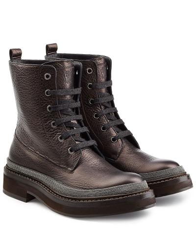 brunello cucinelli damen combat boots aus leder mit schmuckperlen reduziert. Black Bedroom Furniture Sets. Home Design Ideas