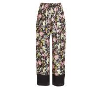 Seiden-Pants mit Print und Lochmuster