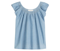 Bestickte Chambray-Bluse