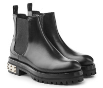 Chelsea Boots aus Leder mit Totenkopf-Nieten
