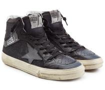 High Top Sneakers Slide aus Leder mit Glitzer