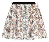 Flared-Skirt aus bedrucktem Lochstrick