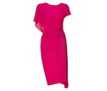 Shocking Pink Ridge Pleated Low Back Dress