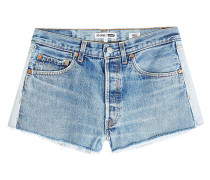 Gefranste Jeans Shorts im Two Tone Look