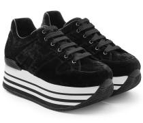 Plateau-Sneakers aus Samt und Leder