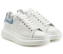Leder-Sneakers mit Veloursleder