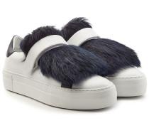Sneakers aus Leder mit Lammfell
