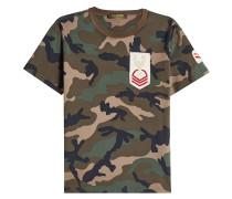 Camouflage-T-Shirt aus Baumwolle mit Patches