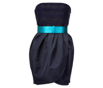 Navy Strapless Belted Dress