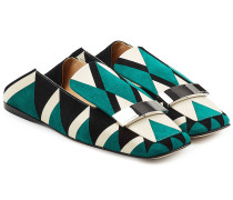 Loafers aus bedrucktem Veloursleder mit Zierschnalle