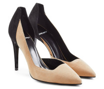Two-Tone-Pumps aus Veloursleder