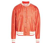 Bedruckte College-Jacke aus Wolle und Seide