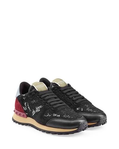 valentino damen valentino sneakers rockstud aus spitze und leder multicolor reduziert. Black Bedroom Furniture Sets. Home Design Ideas