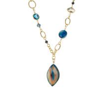Goldfarbene Halskette mit Schmucksteinen