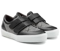 Sneakers aus Baumwolle und Leder mit Fischgratmuster