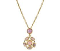 Halskette mit Schmucksteinen und Kristallen